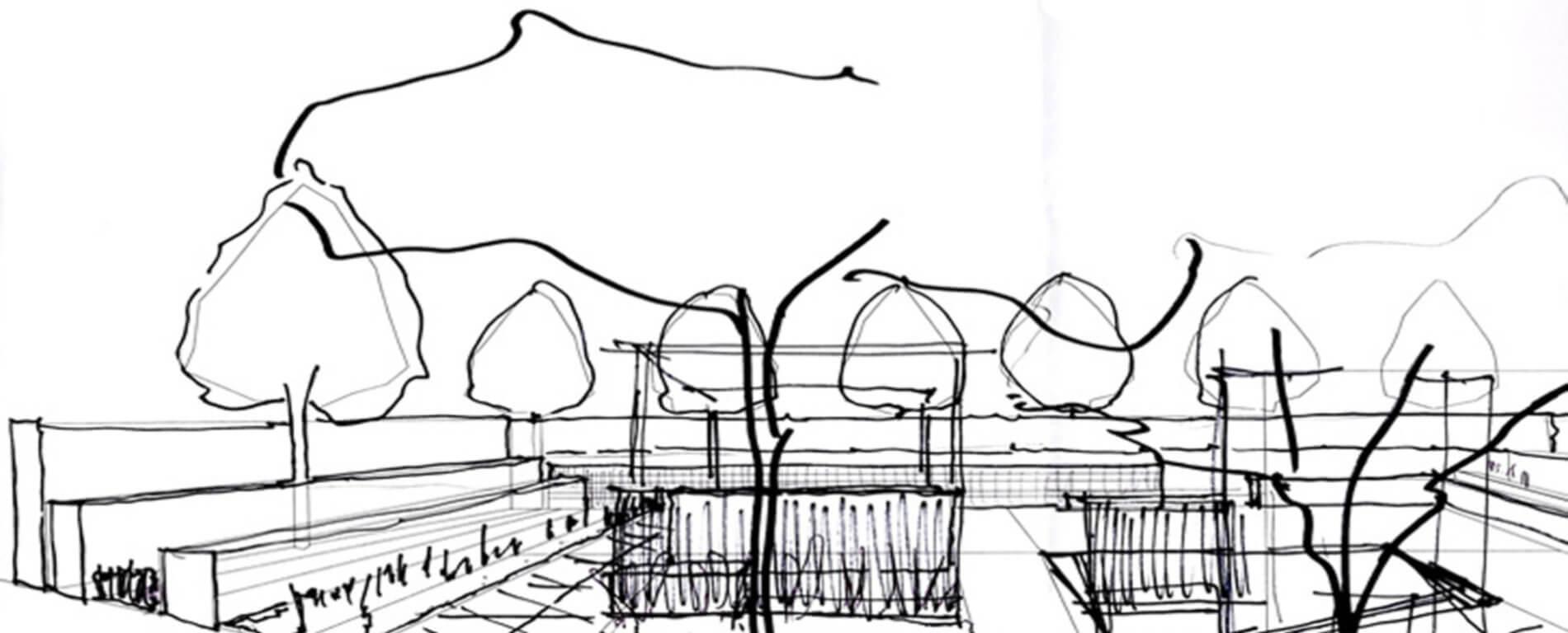 Handskizze von einem Privatgarten.
