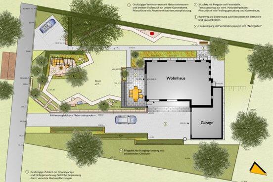 Barrierefreie Gartengestaltung mit großer Wohnterrasse, breitem Stufenlauf in die untere Gartenebene, mit umlaufendem Rundweg und einer zusätzlichen Loungecke mit Pergola und Feuerstelle.